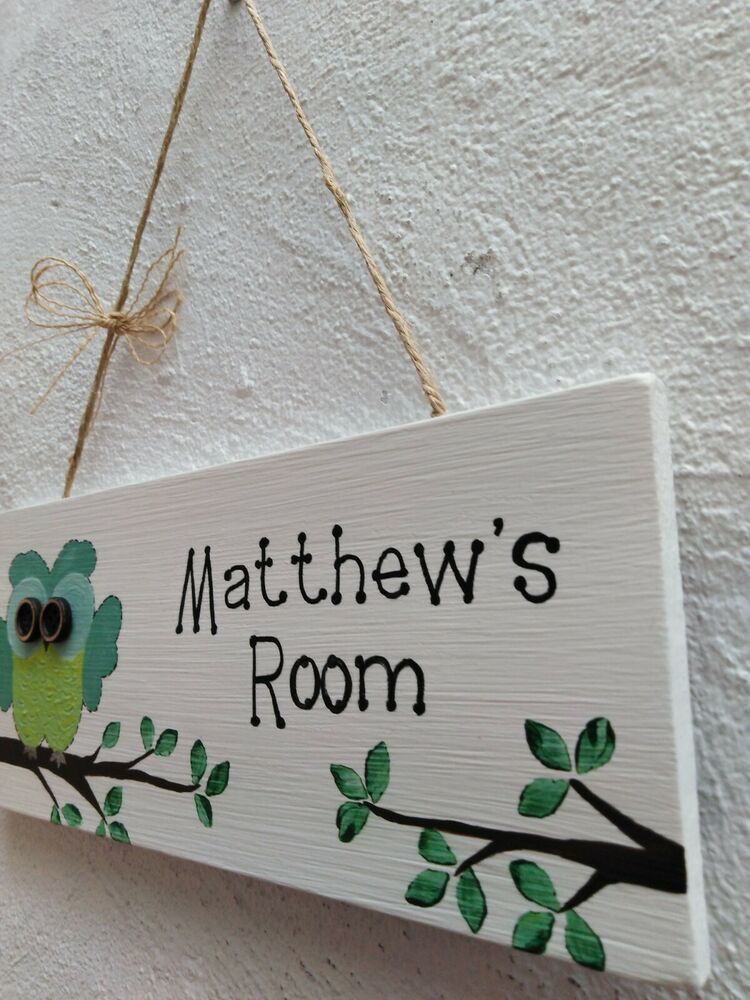 Boys Girls Childrens Owl Personalised Plaque Bedroom Hanging Sign ...