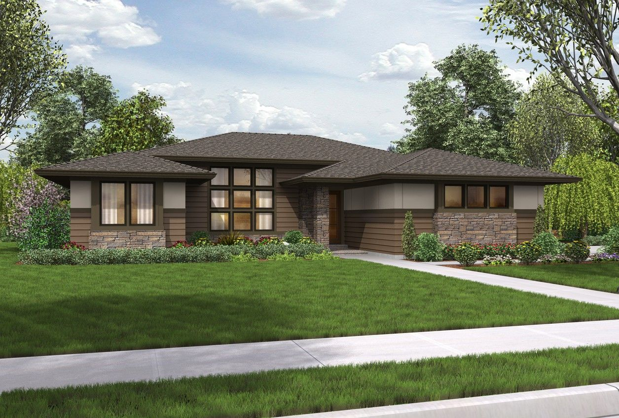 Mascord House Plan 1247 The Dallas Modern Contemporary House Plans Prairie Style Houses Ranch Style Homes