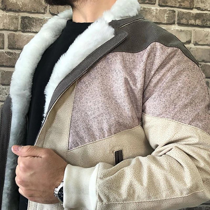 Mens Street Fashion Coloring Splicing Jacket
