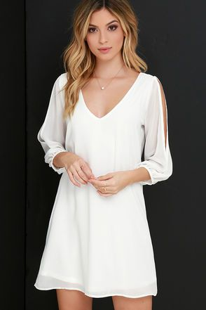 0a32b26eca4b Dress White Short Party Night Ideas For 2019. LULUS Exclusive Shifting  Dears Ivory Long Sleeve Dress at Lulus.com!