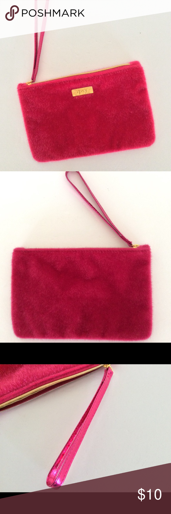 7783e94cf9 Ipsy makeup bag faux fur fuchsia