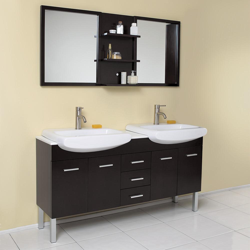 Fresca Vetta Espresso Modern Double Sink Bathroom Vanity W Mirror