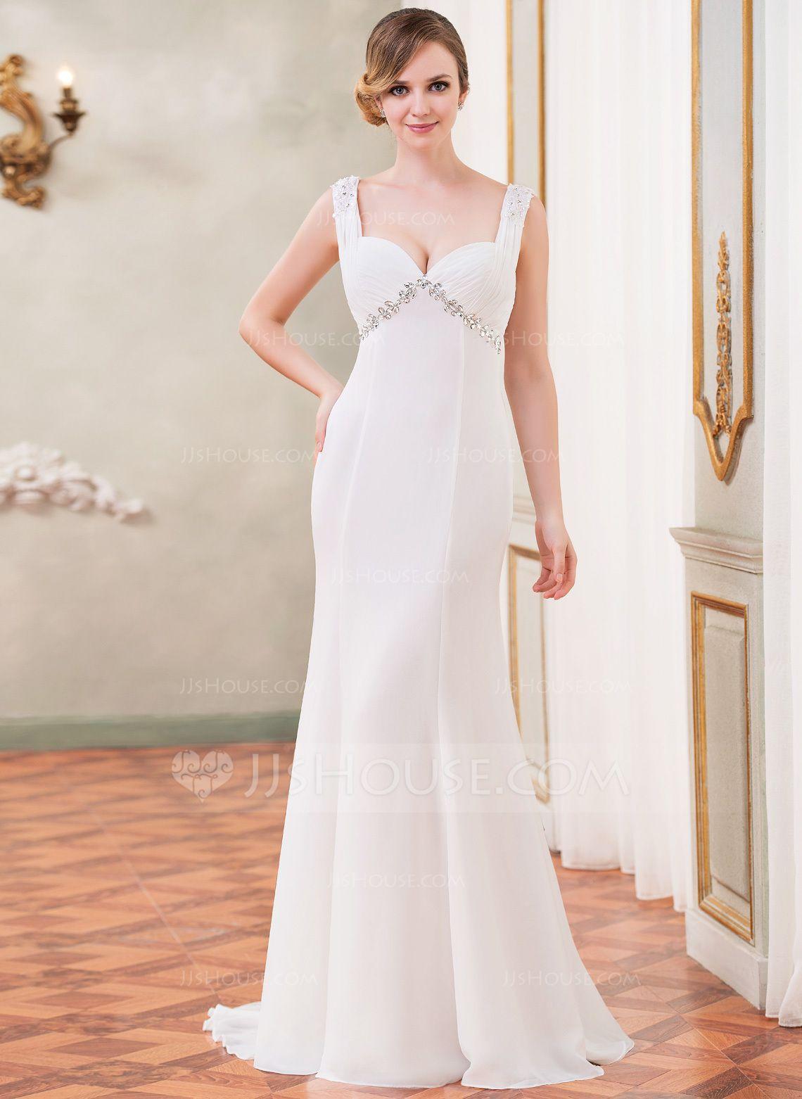 Mermaid ruffle wedding dress  TrumpetMermaid Sweetheart Watteau Train Chiffon Wedding Dress With