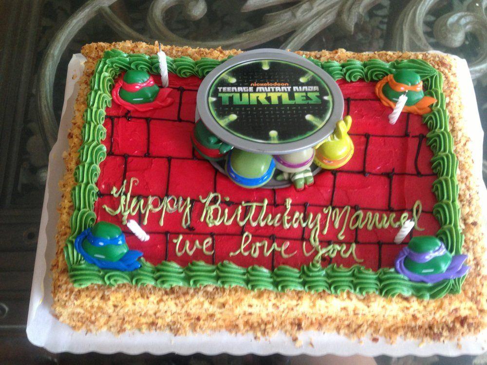 Ninja Turtle Sheet Cake cakepins.com | Turtle birthday ...
