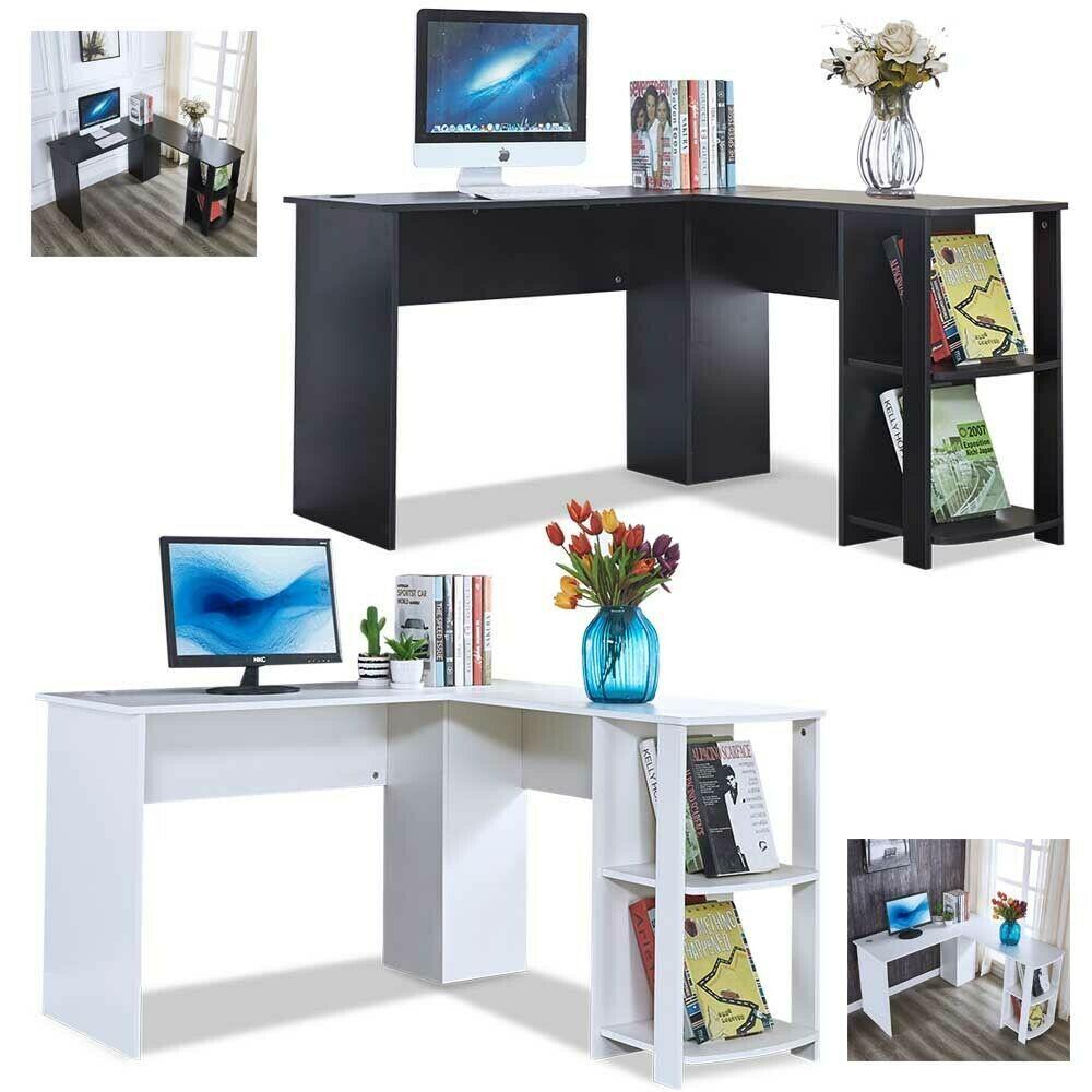 L Shaped Workstation Computer Desk Home Office Corner Table With 2 Book Shelves Ebay L Shaped Shelves Trendy Home Home Office Desks