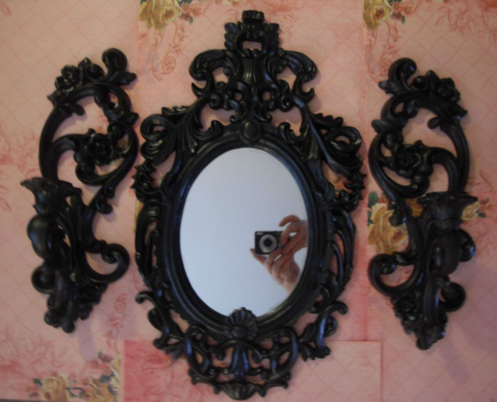Wall Mirror Pair Candle Holder Sconce Set French~Vintage Style~Shabby~Cottage