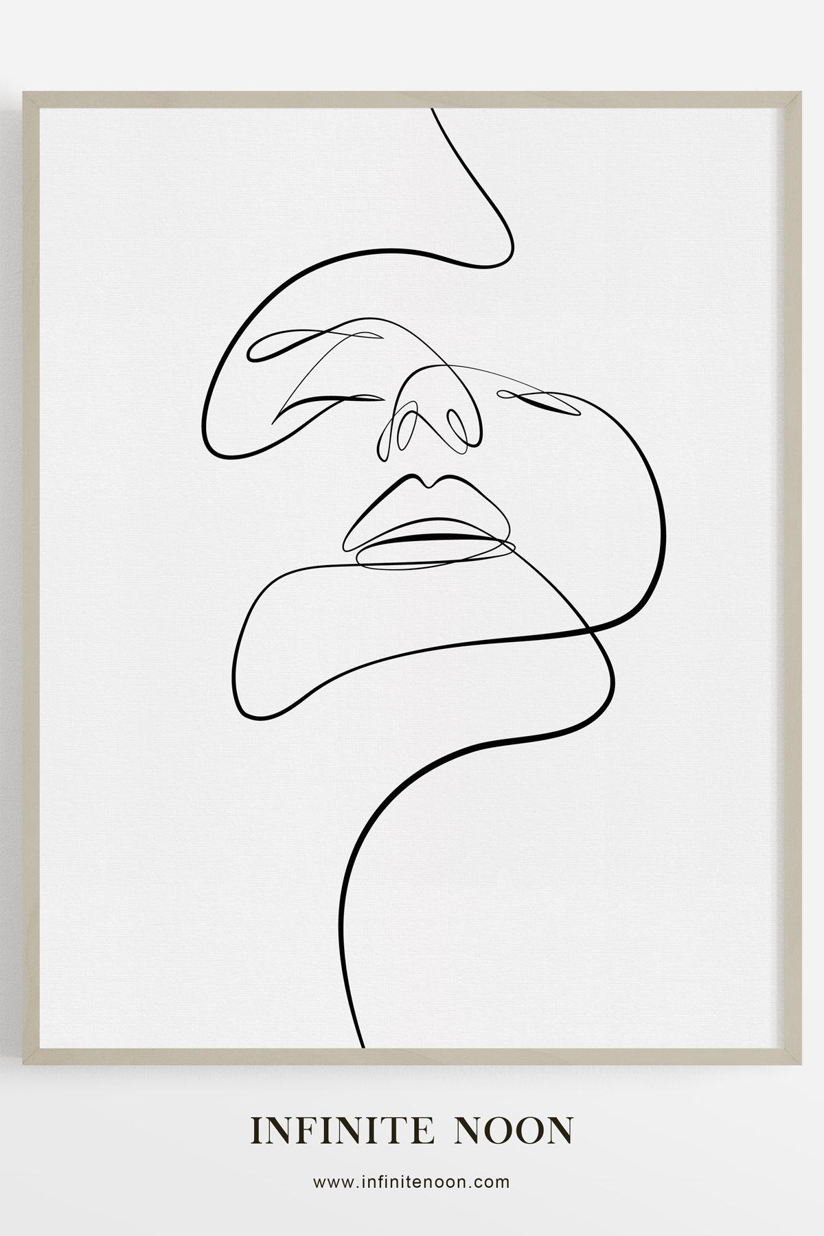 Démêler #abstraktezeichnungen Abstract Face doodle dessin imprimé, ligne simpliste figure croquis art mural, art mural minimaliste, noir et blanc minimal ...