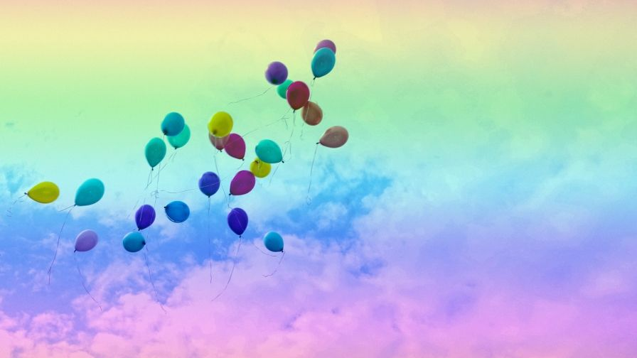 Multi Color Balloons Flying Sky Wallpaper Free Download Hd Hd