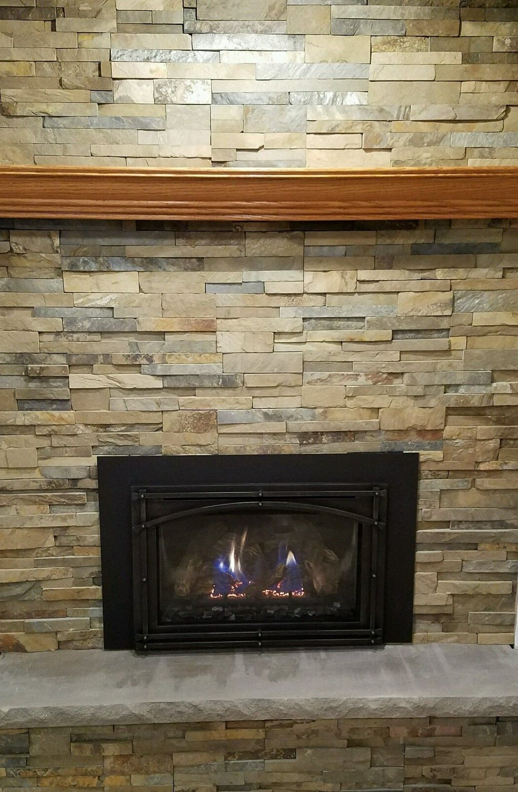 Great American Fireplace Installed This Kozy Heat Gas Insert And Re Faced The Brick With Norstone Ochre Xl Panel Stone Custom Fireplace Fireplace Gas Insert