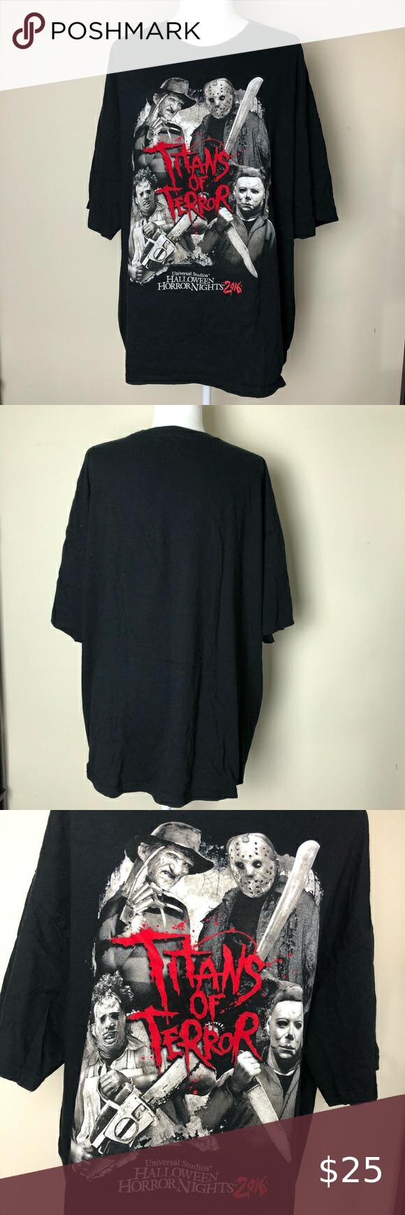Halloween 2020 Michael Laying HHN 2016 Titans of Terror Shirt in 2020   Terror shirts, Clothes