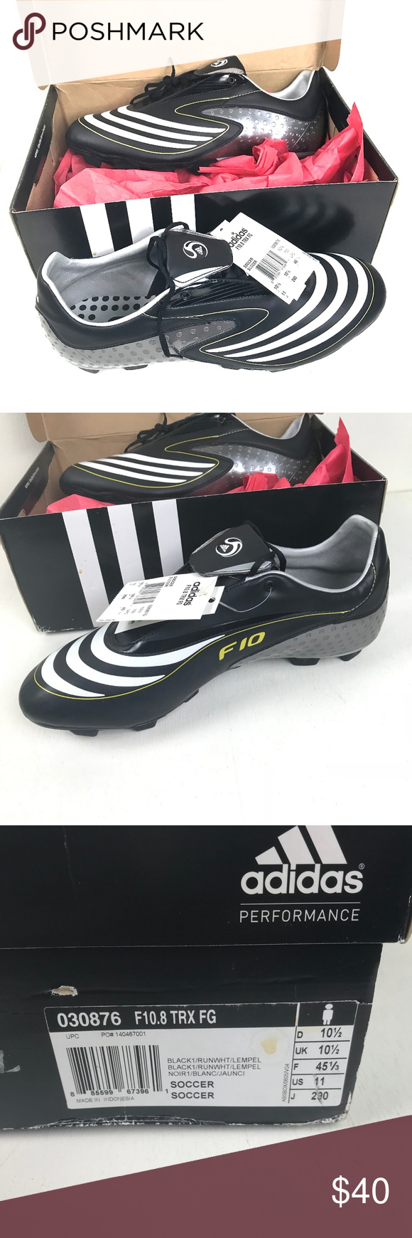 b9ff766f43cce Adidas Men's Soccer Cleats F10.8 TRX FG Size 11 M Adidas Men's ...