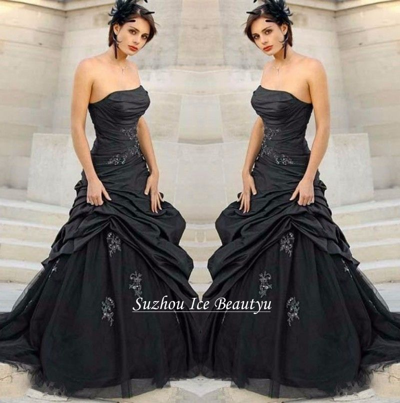 Find More Wedding Dresses Information About Cheap Black Gothic Dress Ruched Taffeta Puffy Tulle Skirt