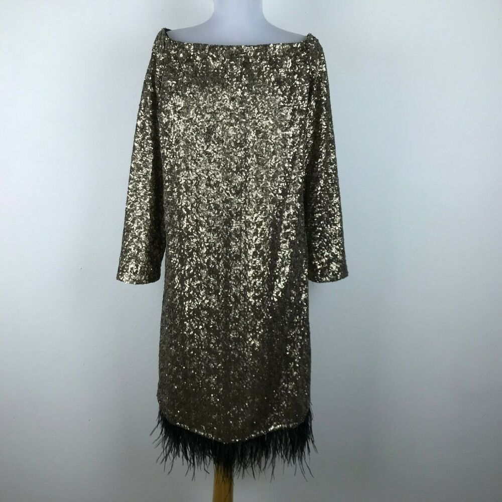 bb3ceb2d92 ELOQUII Dress Plus Size 22 Gold Sequin Feathers Long Sleeve Cocktail Party   Eloquii  PartyCocktail