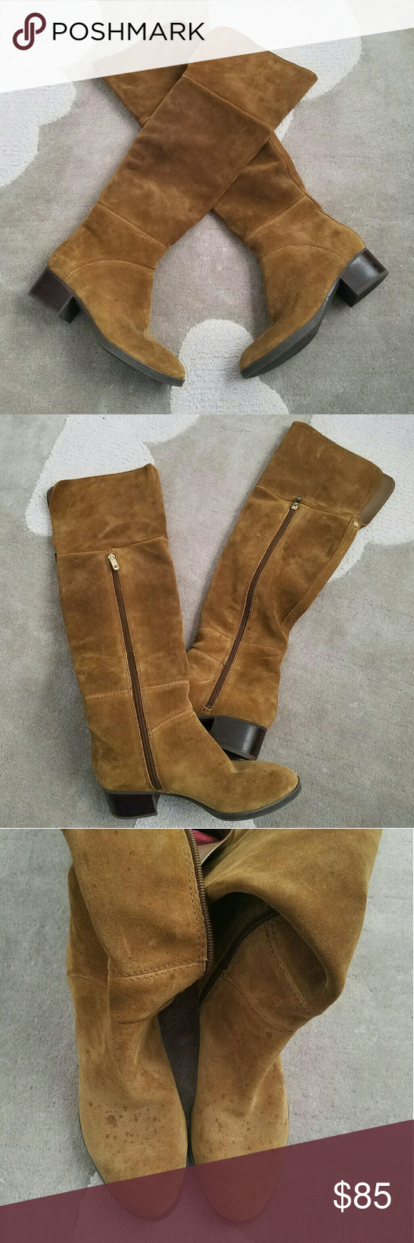 1dfb8620be3677 Tommy Hilfiger Gianna suede over the knee boots Color is brown but has a  hint of green yellow to it in person Almond toe Partial side zip closure  Top flat ...