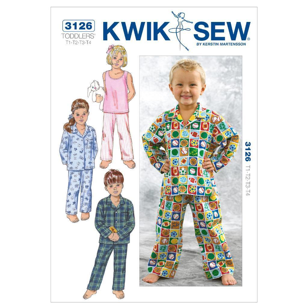 8.95 GBP - Kwik Sew Sewing Pattern Toddlers\' Sleepwear Size T1 T2 T3 ...