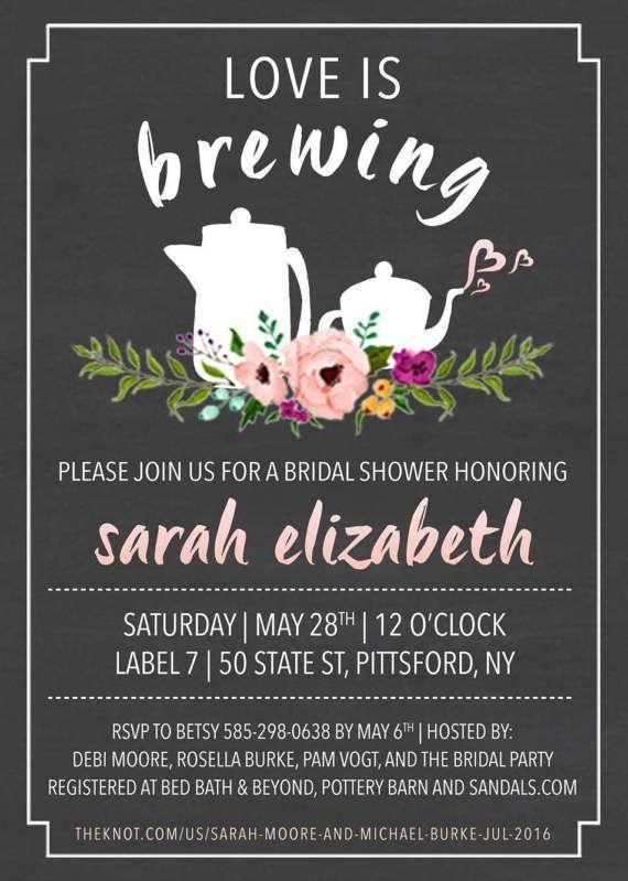 0e59772c3b3 Garden Tea Party   Love is Brewing Bridal Shower Invitation