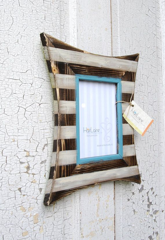 Love this distressed striped frame | Frames | Pinterest | Marcos ...
