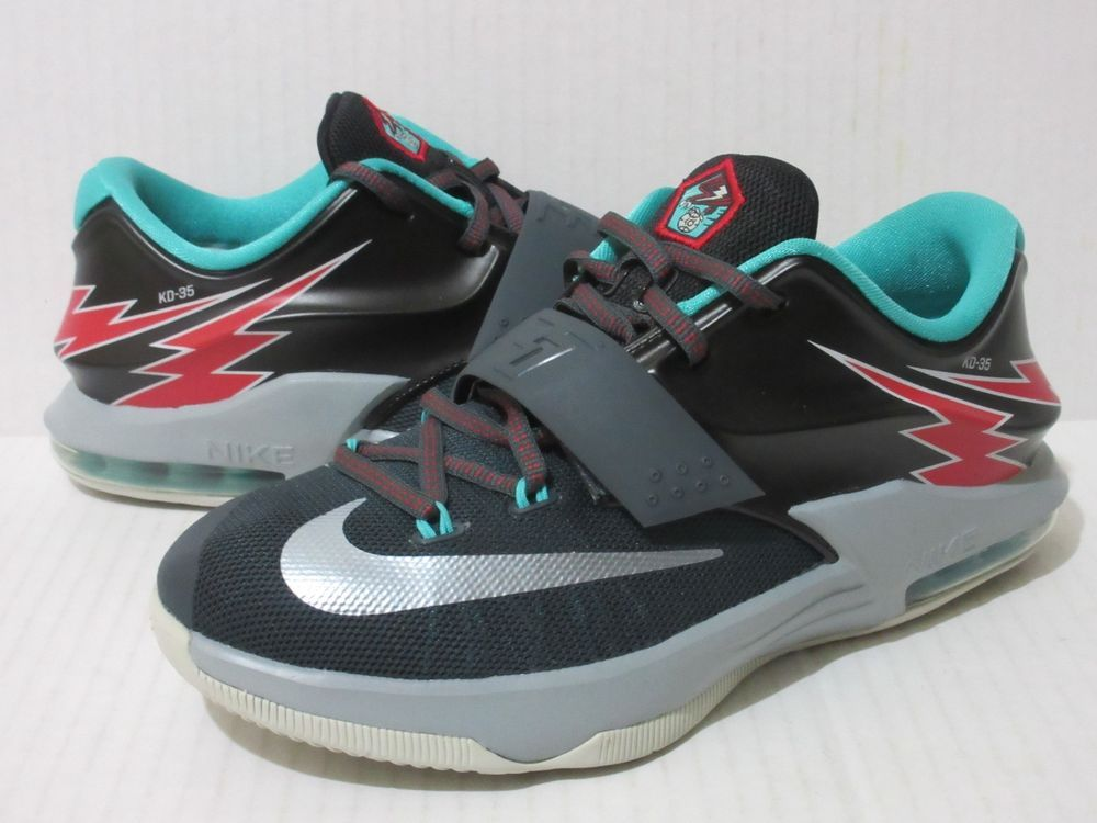 Nike KD VII 7 Size 6 Youth 6y GS Thunderbolt Charcoal Grey Boys Shoe  669942-005. Youth Basketball ...
