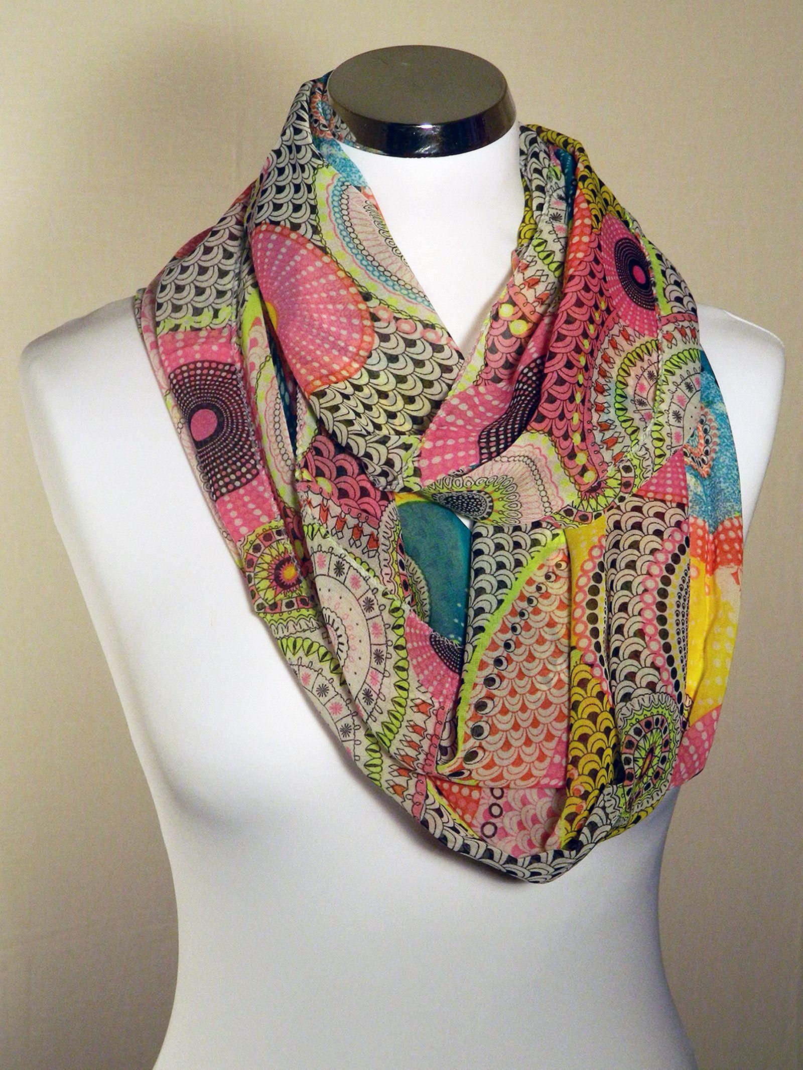 Foulard tube motifs rosaces multicolores, Rose, jaune fluo ... 15910a2a3d2