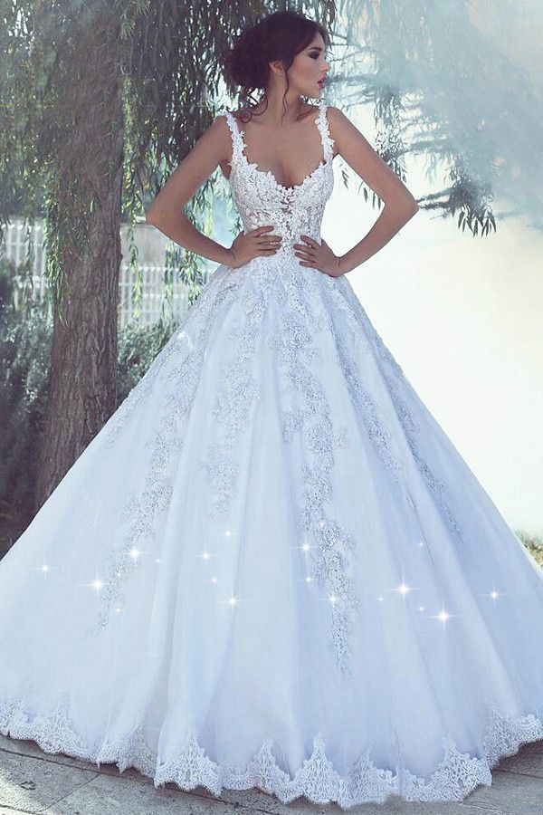 White Sweetheart Lace Wedding Dresses Ball Gowns Tulle Bridal Dresses Custom