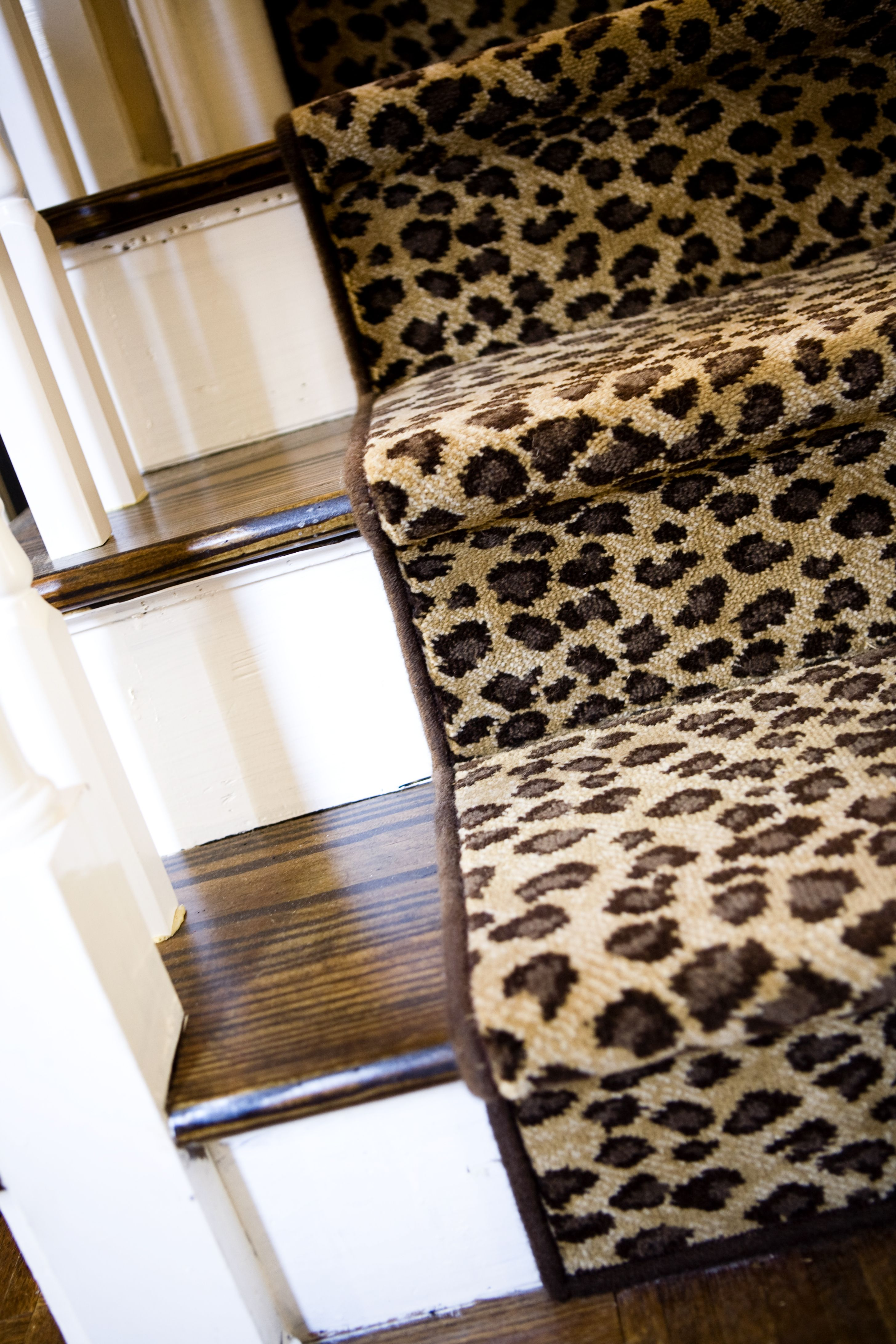 009e552671c3 lepord runner on staircase in the entry way oh such drama, Moda Animal Print ,