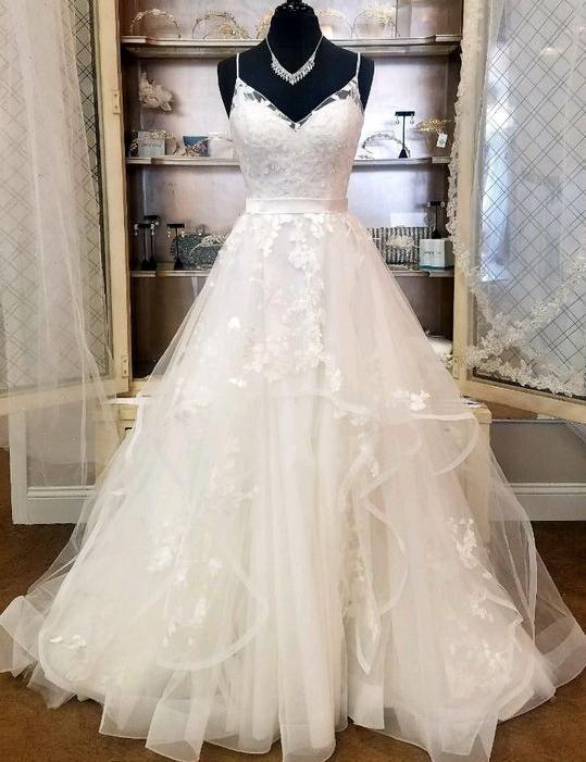 Fashion A-line Tulle Bridal Dresses With Applique Wedding Dresses Vestidos de Novia BDS0523