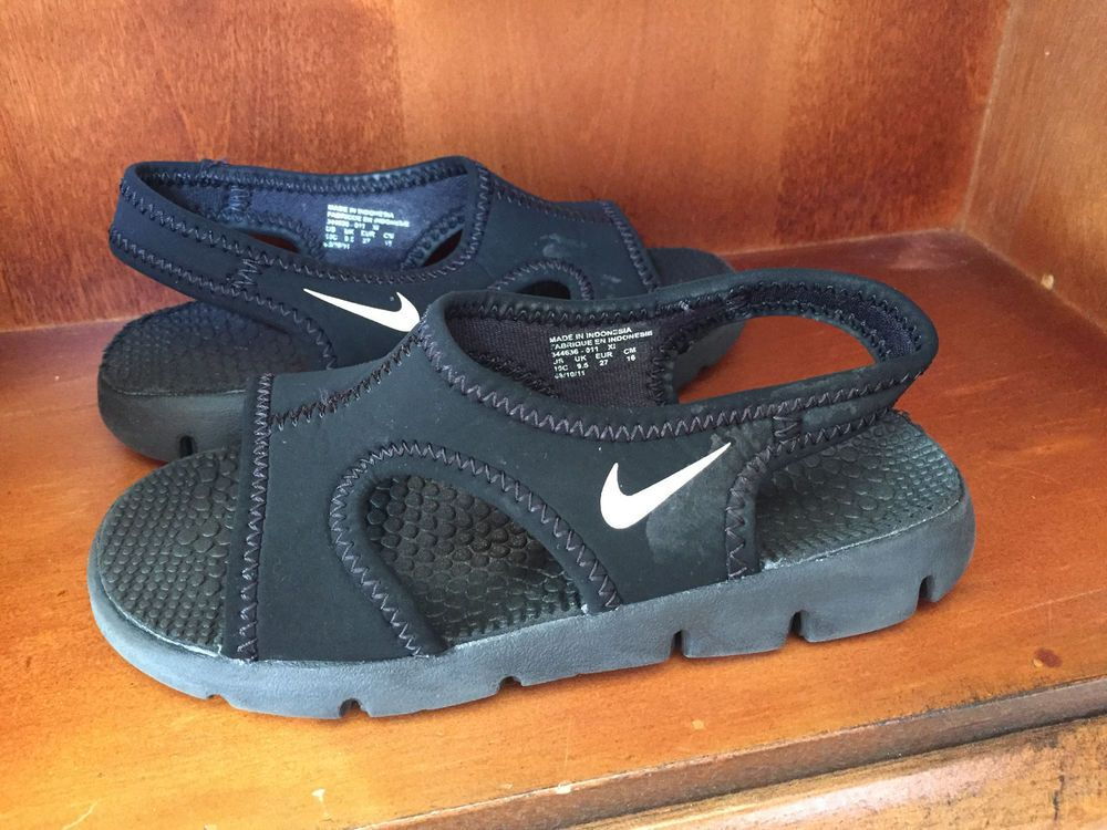 731128871bbb NIKE Sunray Boys BLACK white swoosh SLIP ON Sandals water Shoes size 10c   Nike  WaterShoes
