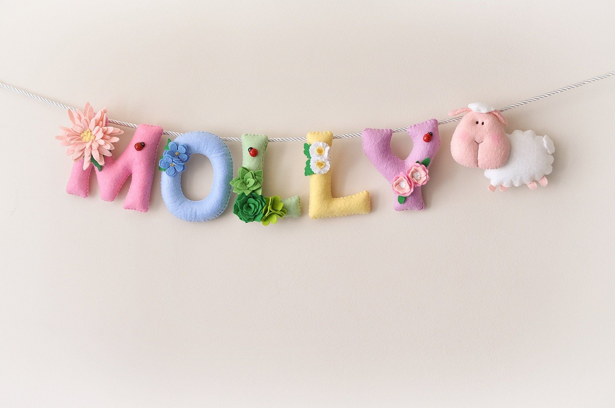 Baby Wall Art Floral Sheep Baby Decor Felt Name Banner Etsy Baby Wall Art Felt Name Banner Diy Felt Christmas Tree