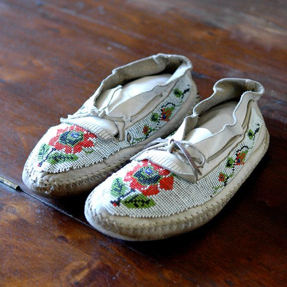 Antique Beaded Moccasins // White Wilderness