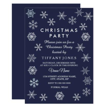 Navy Blue Winter Snowflake Christmas Party Invite Invitation ideas
