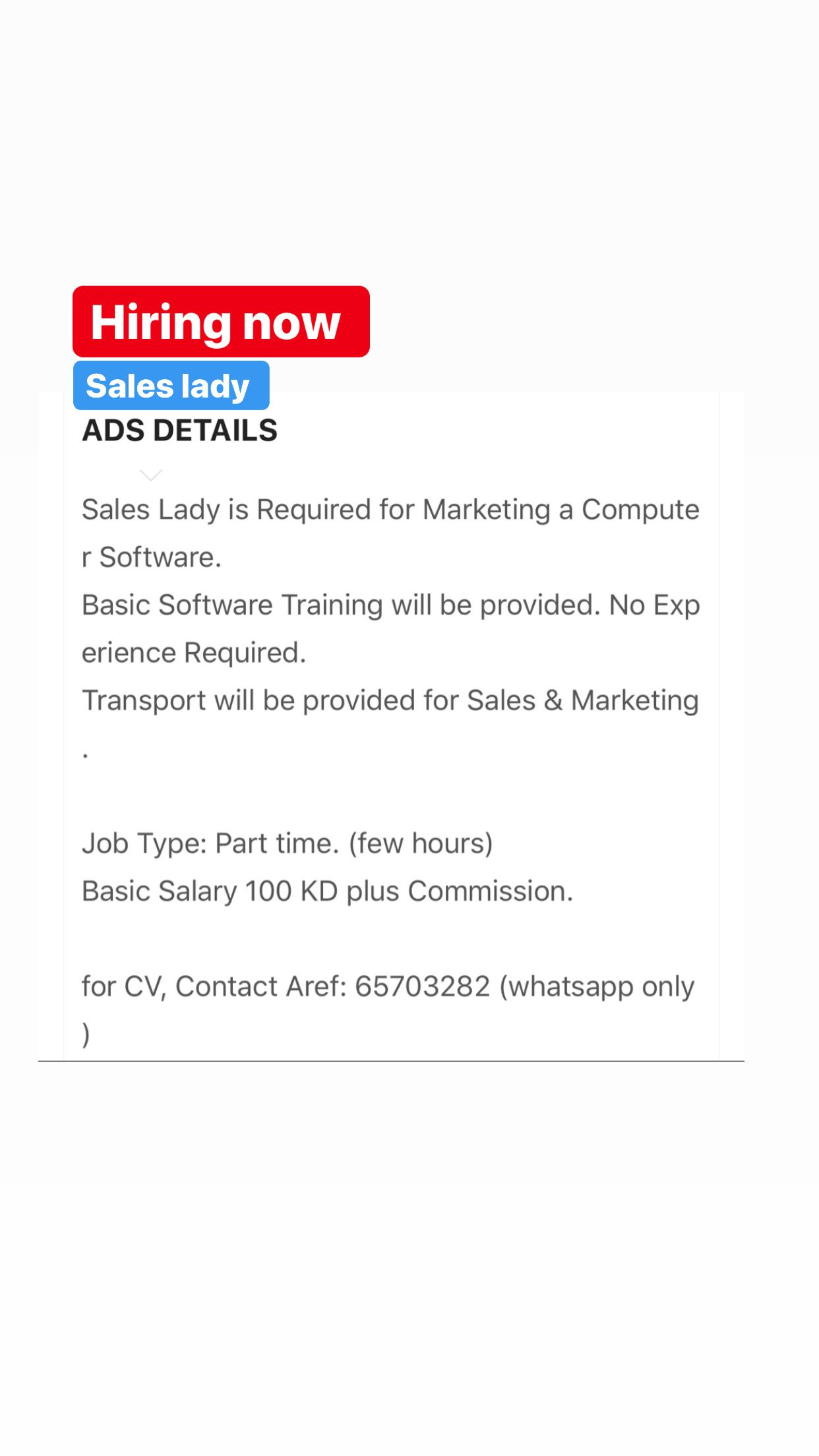 Sales Lady Vacancy In Kuwait Marketing Jobs Basic Software Sales And Marketing