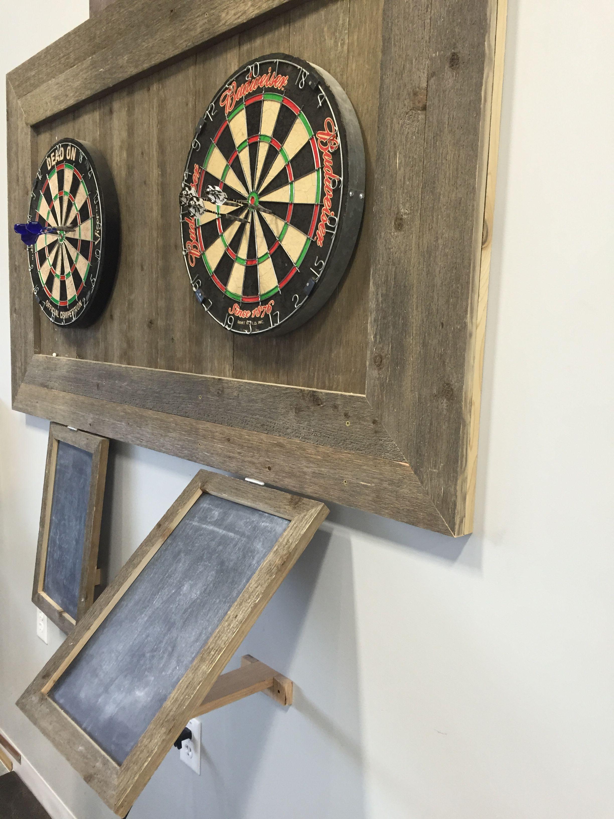 Handmade reclaimed wood dart board wall score boards