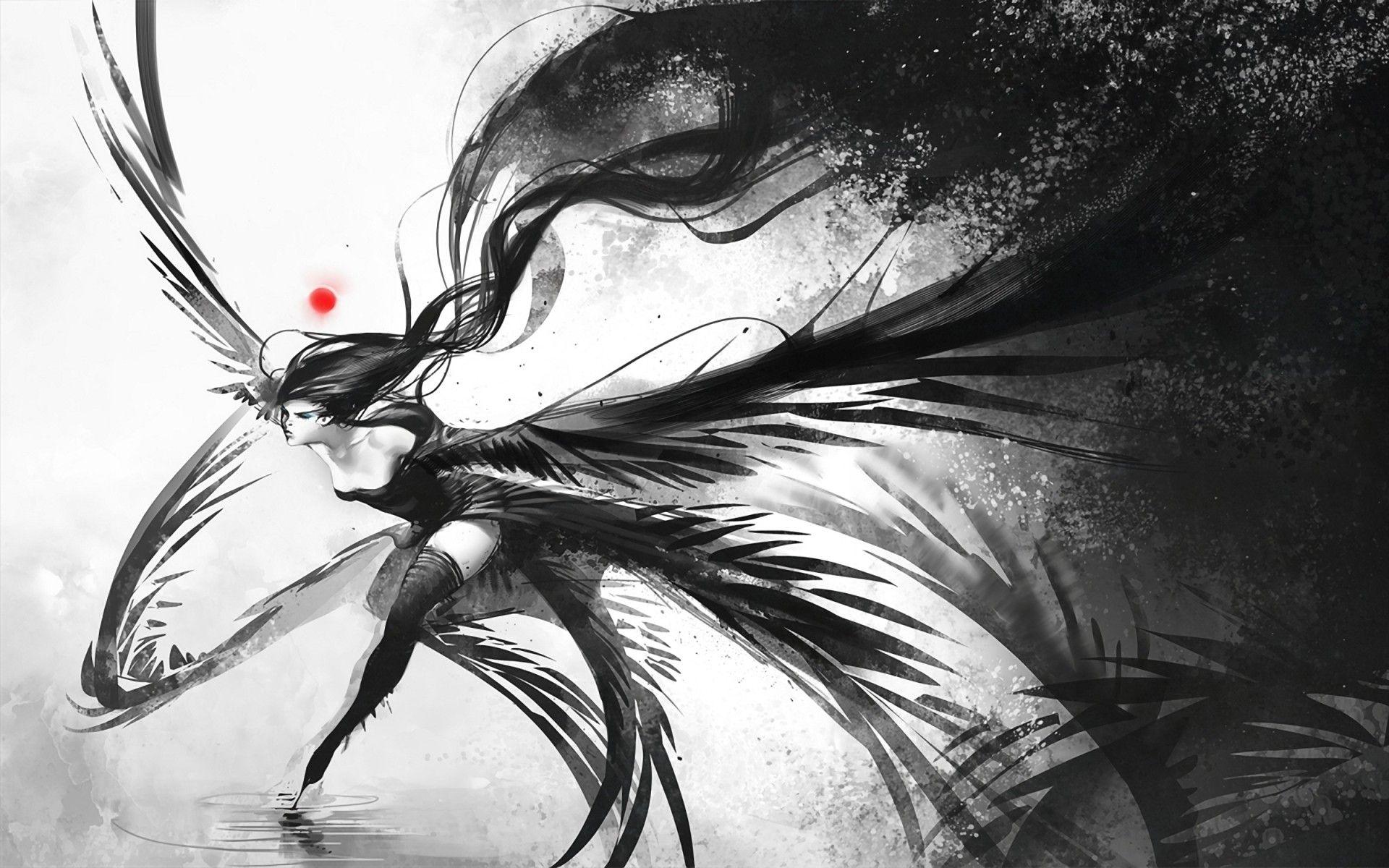 Women water wings black dress white long hair fantasy art thigh