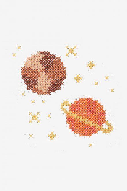 Photo of Saturn and Jupiter Cross Stitch Pattern –  DMC Saturn and Jupiter cross stitch p…