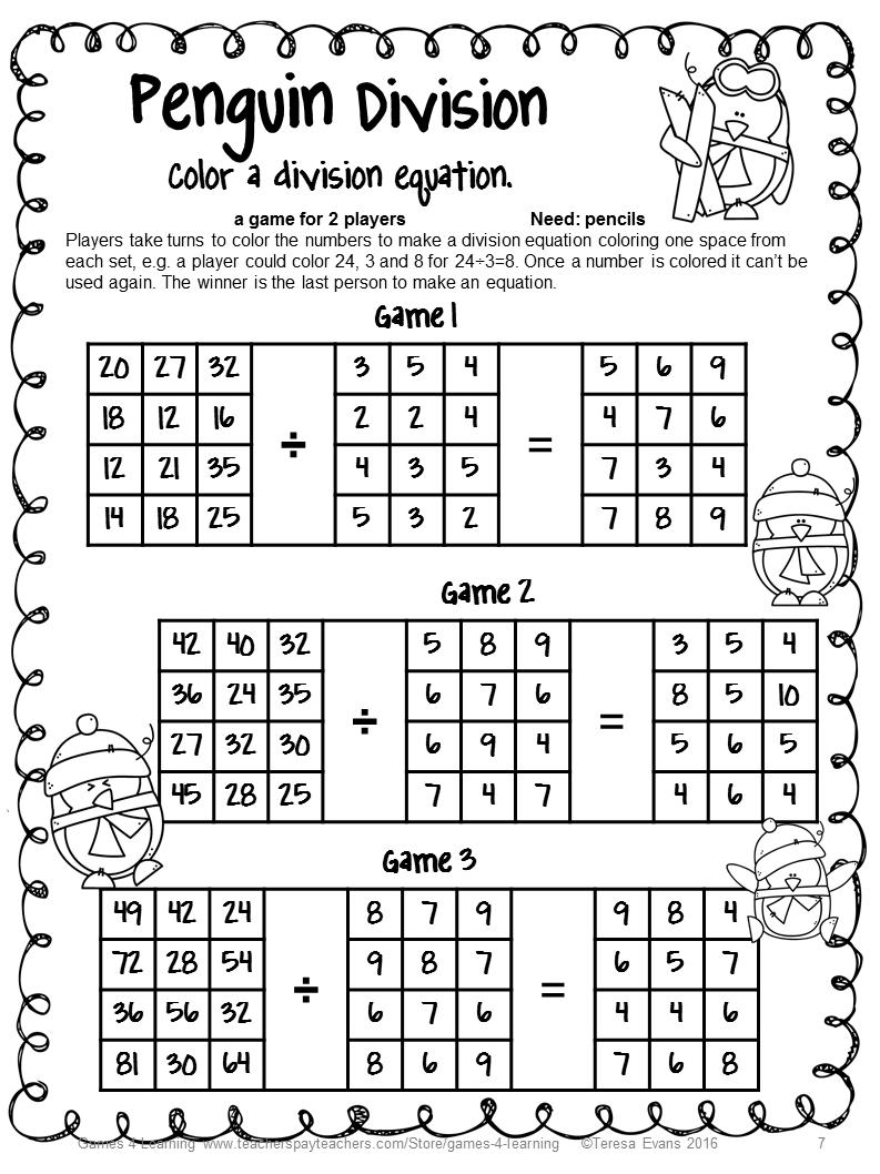 winter math activity no prep penguin math games multiplication and division 1st grade math. Black Bedroom Furniture Sets. Home Design Ideas