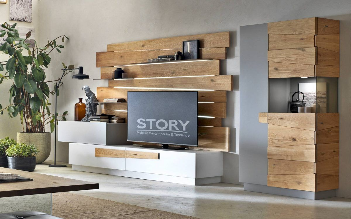 Composition Tv Design Laque Et Chene Massif Mobilier De Salon Tv Design Story Meuble