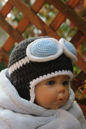 Kostenlose Häkelanleitung für Aviator Babymütze | Häkeln | Pinterest