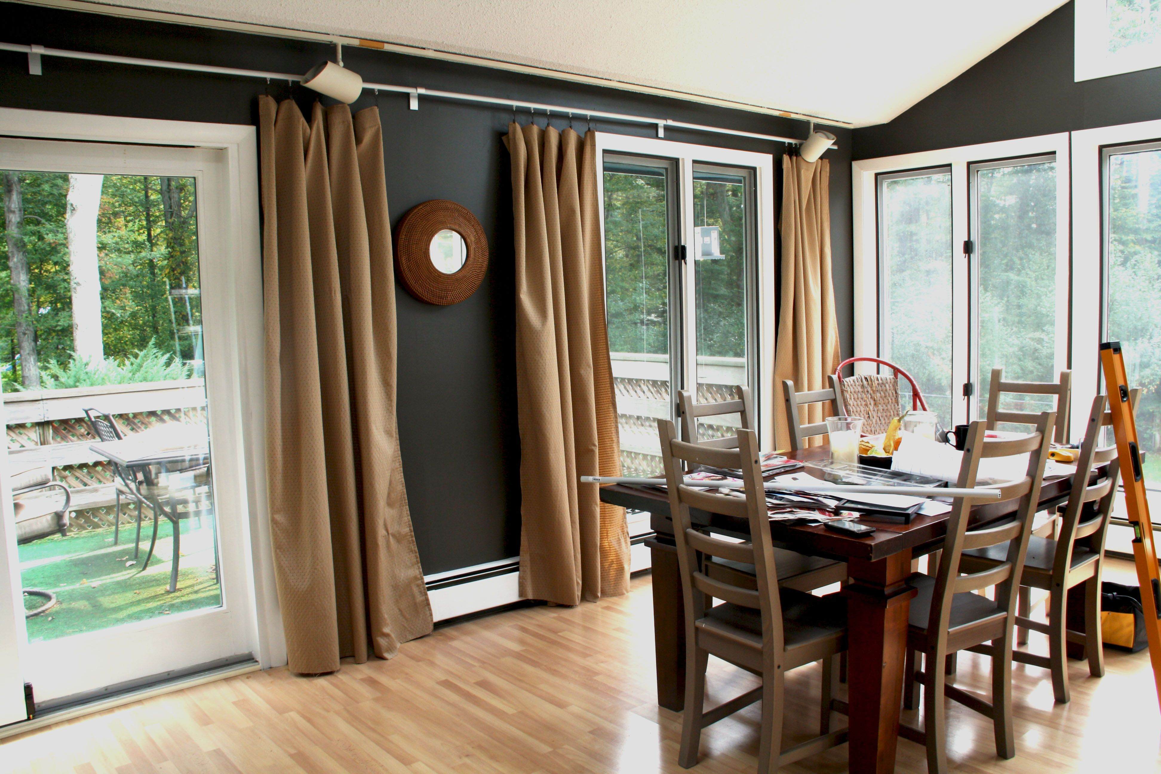 Room Refined Decorating Ideas Using Extra Long Curtain Rods Dining