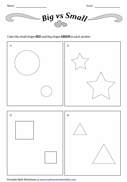 Concept Of Big And Small Worksheets | February preschool ...