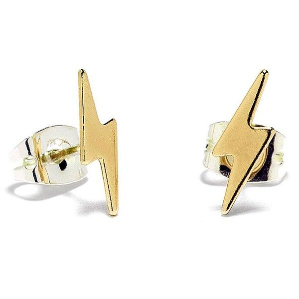 Bing Bang Lightning Bolt 14K Stud Earrings (63 CAD) ❤ liked on Polyvore featuring jewelry, earrings, brincos, yellow gold, 14 karat gold jewelry, gold jewellery, gold earrings, bing bang jewelry and 14 karat gold earrings