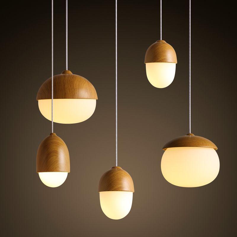 Modern Copper Ring Led Pendant Lighting 10758 Shipping: Nordic Modern Minimalist Warm Nuts Glass Wood Globle