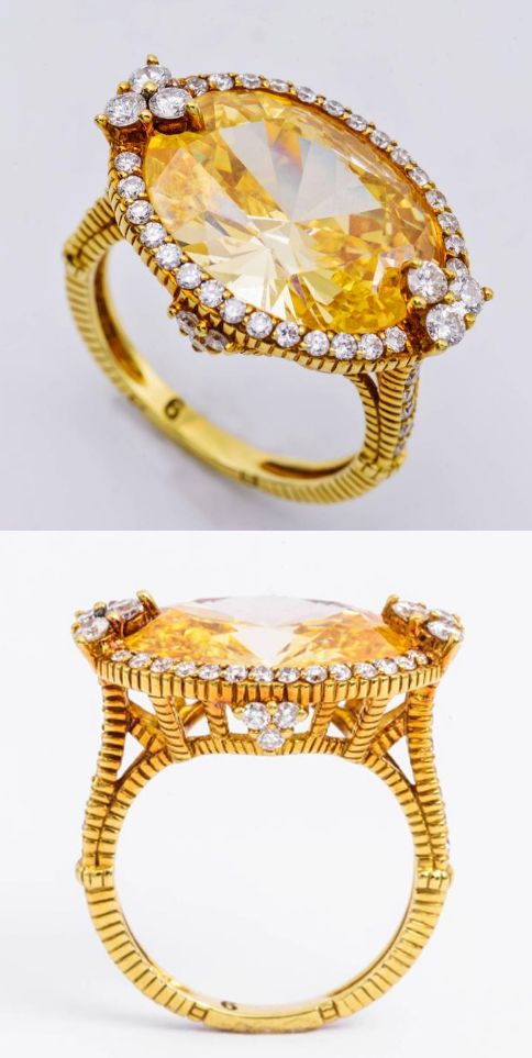 407e96b7dde Judith Ripka Stunning Canary Color Topaz Ring crafted in 54 round White  Diamonds. Set in 18 Karat Yellow Gold.