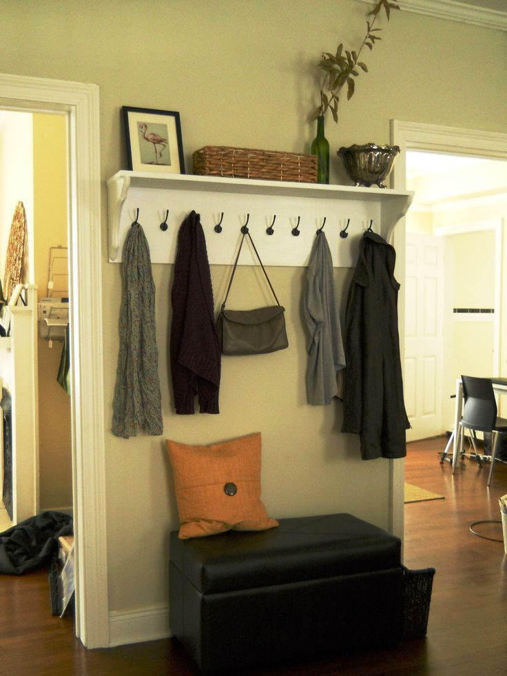 DIY Shelving Ideas: Adding hooks to a simple DIY shelf turns it into a  great entryway drop spot for coats, purses, backpacks, etc. Entryway Shelf  with Hooks ...
