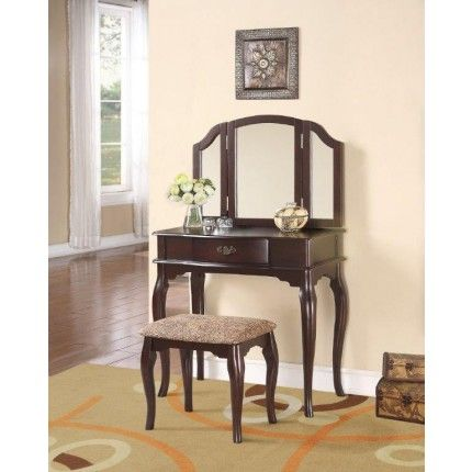 Taditional Stephanie Vanity Table and Stool Set 2207 by Crown Mark - Bedroom Vanity Table