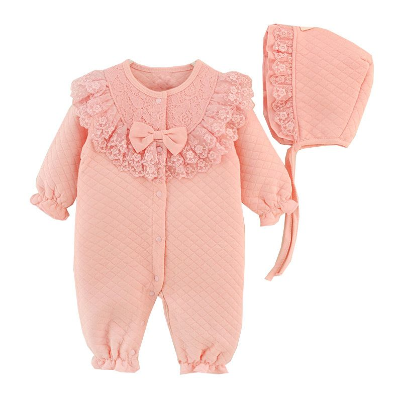 Newborn Infant Baby Kids Girls Cap Hat+Lace Romper Jumpsuit Outfit Amiley baby girl clothing sets