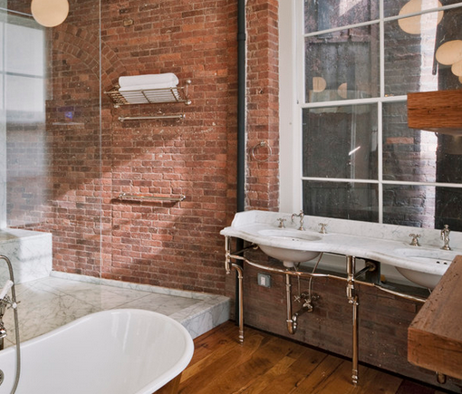 Superb Industrial Style Bathroom   Exposed Plumbing And Brick Walls Create  Contemporary Industrial Feel   Brick Is Part 15