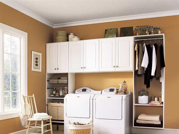 This modular laundry room design puts all supplies within arm's reach.