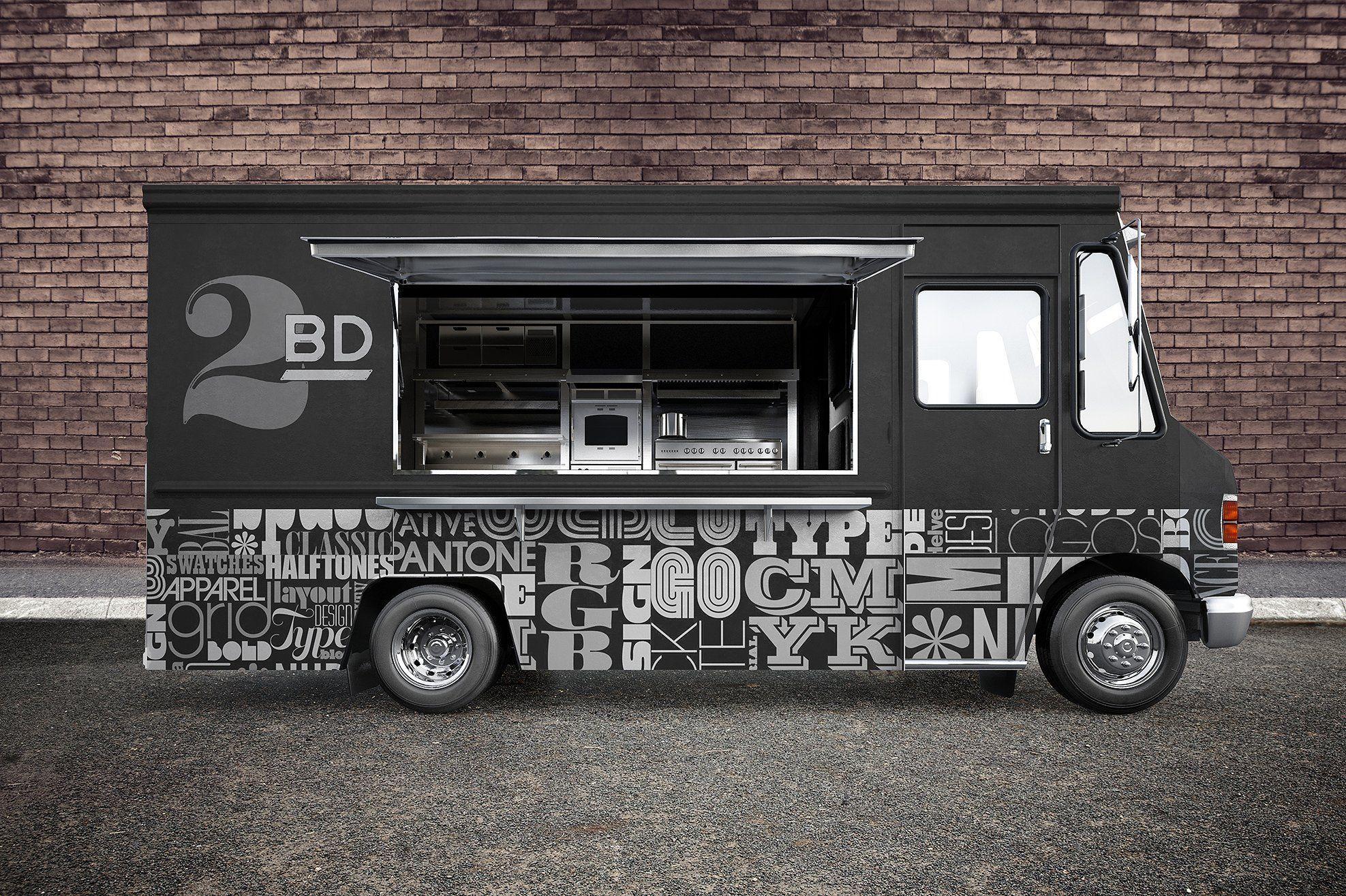 Food Truck Psd Mockup Food Truck Design Food Truck Truck Design