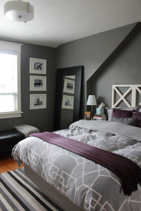 Purple U0026 Gray Bedroom: Adding Purple To Grey Bedroom   Grey Duvet Purple  Sheets And Accents. Itu0027s Benjamin Moore Asphalt Gray On The Walls, And The  Trim Is ...