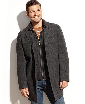 Tommy Hilfiger Wool-Blend Quilted-Bib Herringbone Overcoat